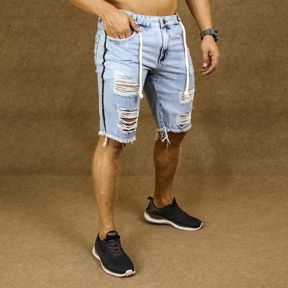 Short Jeans Masculino Caunt Azul Claro Cordão Destroyed  - Harpia Moda - Moda Masculina & Acessórios