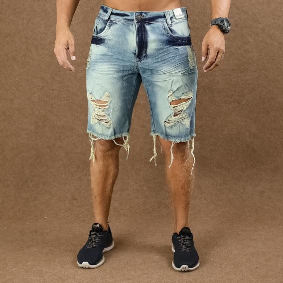 Short Jeans Masculino Caunt Azul Destroyed  - Harpia Moda - Moda Masculina & Acessórios