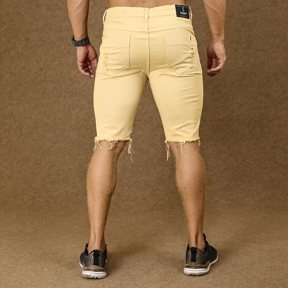 Short Jeans Masculino Caunt Bege Destroyed  - Harpia Moda - Moda Masculina & Acessórios