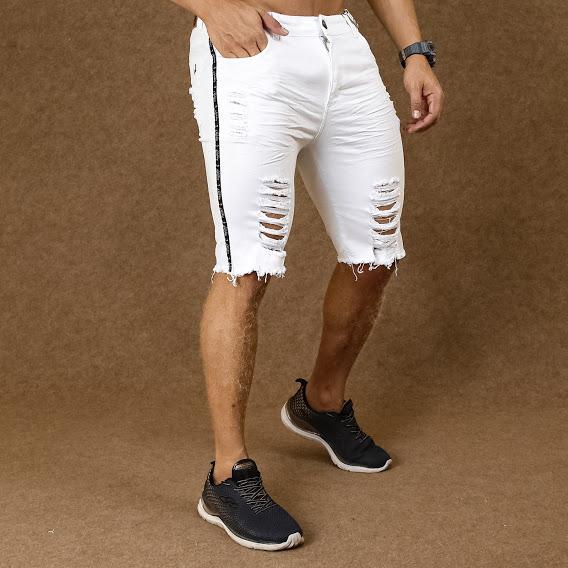 Short Jeans Masculino Caunt Branco Destroyed  - Harpia Moda - Moda Masculina & Acessórios