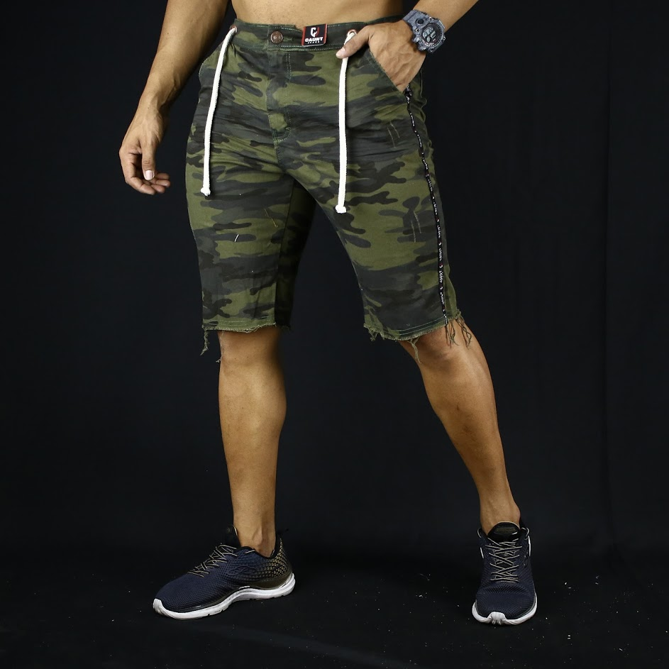 Short Jeans Masculino Caunt Camuflado Destroyed  - Harpia Moda - Moda Masculina & Acessórios