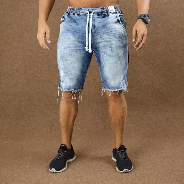 Short Jeans Masculino Caunt Jogger Azul  - Harpia Moda - Moda Masculina & Acessórios