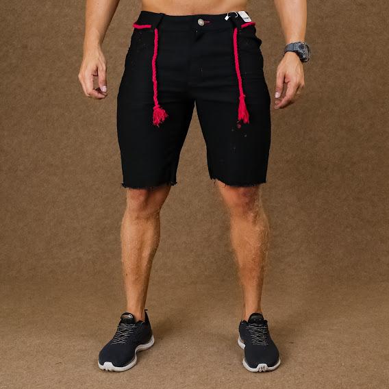Short Jeans Masculino Caunt Preto Cordão Destroyed  - Harpia Moda - Moda Masculina & Acessórios
