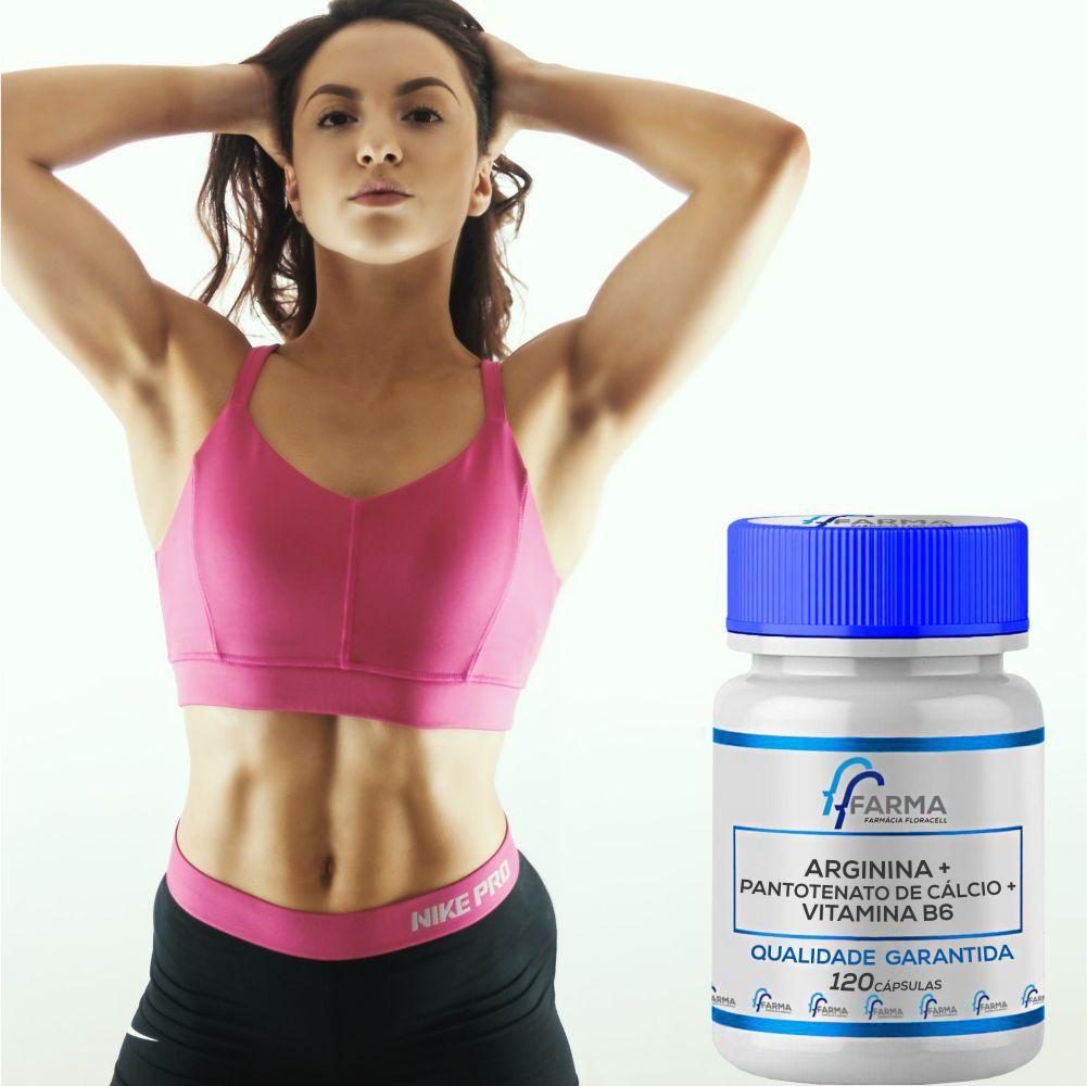 Arginina + Pantotenato De Cálcio + Vitamina B6 - 120 Caps