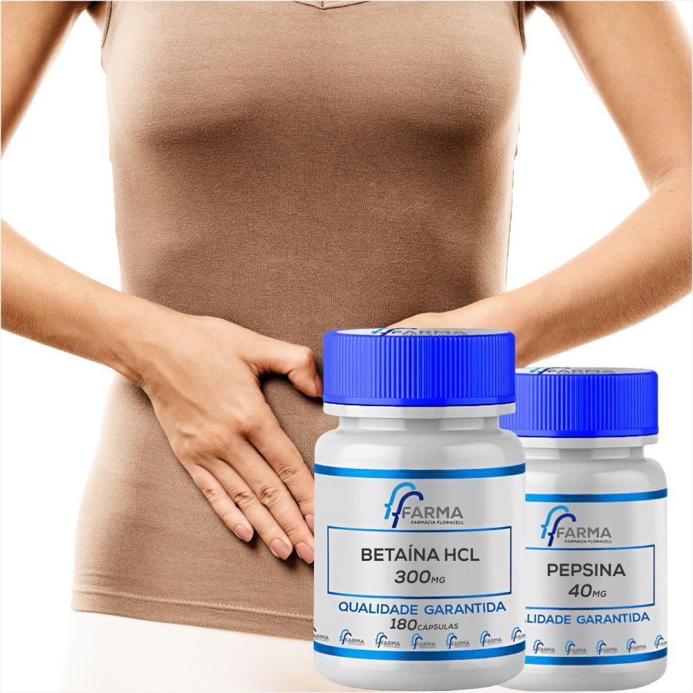 Betaína HCL 300mg + Pepsina 40mg 180 cápsulas