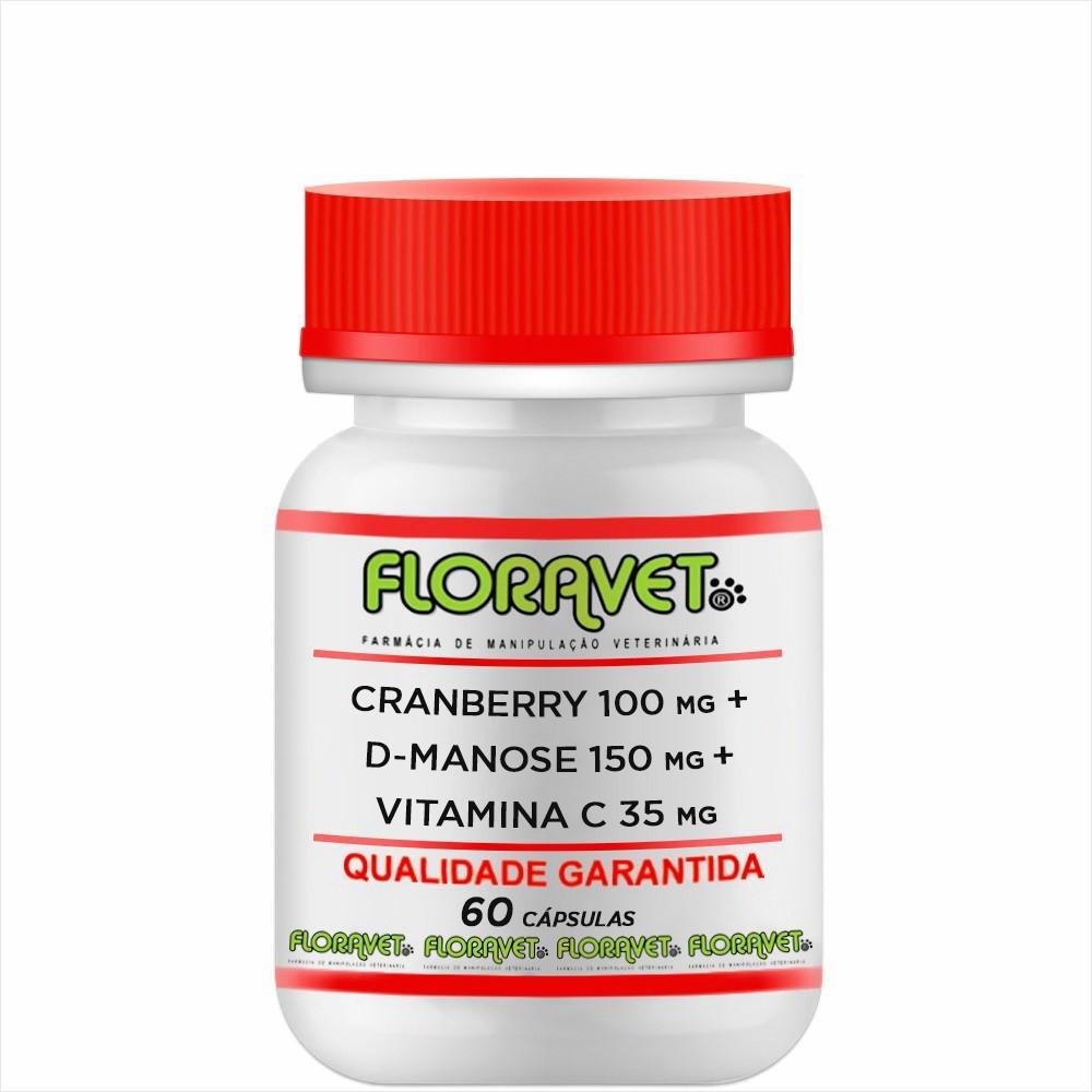 Cranberry 100mg + D-Manose 150mg + Vitamina C 35mg Pote 60 Cápsulas - Uso Veterinário