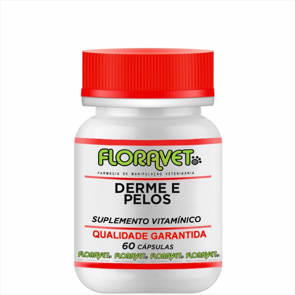 Derme e Pelos - Suplemento Vitamínico Pote 60 Cápsulas - Uso Veterinário