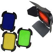 Kit Barndoor com 4 Géis Coloridos para Flash AD200