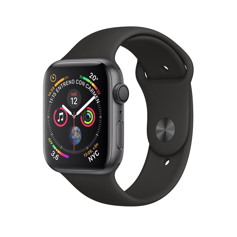 Apple Watch S4 Caixa De Alumínio Em Cinza Espacial E Correia Esportiva Em Cor Preto 44 Mm