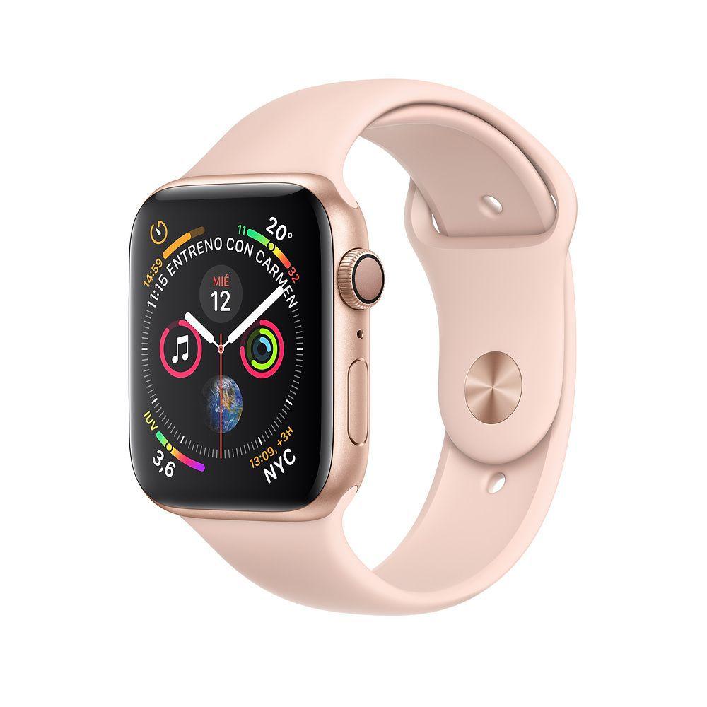 Apple Watch S4 Caixa De Alumínio Em Dourado E Correia Esportivo Em Rose - 44mm