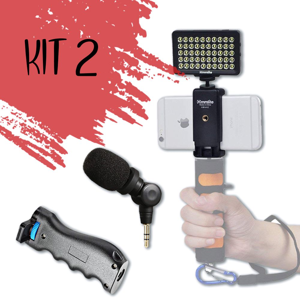 Kit Turbine seu celular (LED + Estabilizador + Microfone)