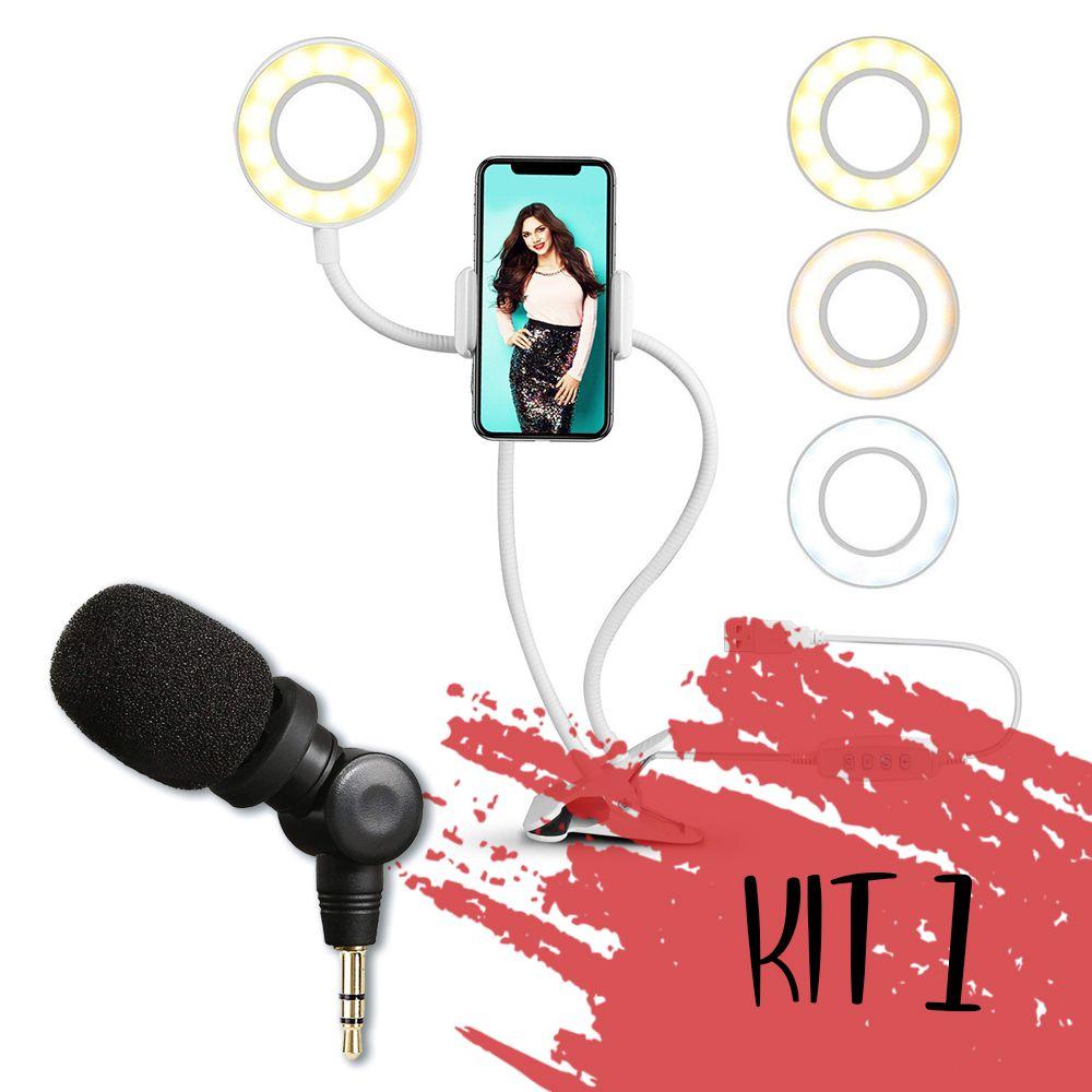 Kit Turbine seu celular (Ring light + Microfone)