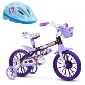Bicicleta Infantil Nathor Puppy Aro 12 + Capacete Absolute Kids Shake Unicórnio