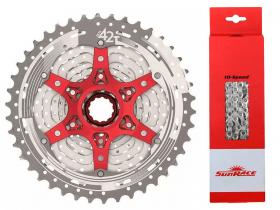 Cassete Bike Sunrace Mx3 10v 11/42 + Corrente Sunrace 10v