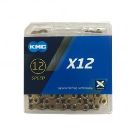 Corrente de Bicicleta Kmc X12 12v Dourada e Preto
