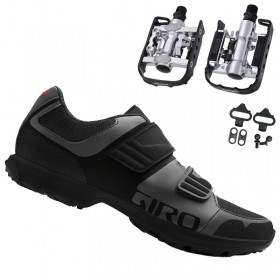 Sapatilha Giro Berm Cicloturismo Mtb + Pedal Wellgo C2 Plataforma