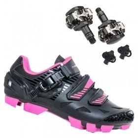 Sapatilha Mtb Ciclismo Absolute Luna II Feminina Preta + Pedal Shimano M505
