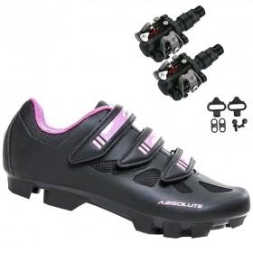 Sapatilha Mtb Ciclismo Absolute Mia II Feminina Preta + Pedal Wellgo M919