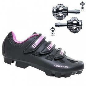 Sapatilha Mtb Ciclismo Absolute Mia II Feminina Preta + Pedal Zeray Zp108s