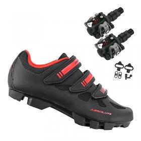 Sapatilha Mtb Ciclismo Absolute Nero II Vermelha + Pedal Wellgo M919