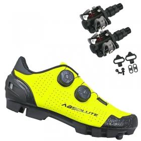 Sapatilha Mtb Ciclismo Absolute Prime II Amarela + Pedal Wellgo M919
