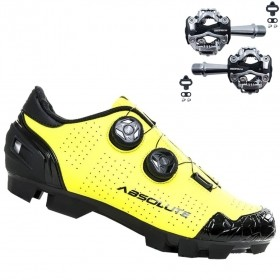 Sapatilha Mtb Ciclismo Absolute Prime II Amarela + Pedal Zeray ZP108S