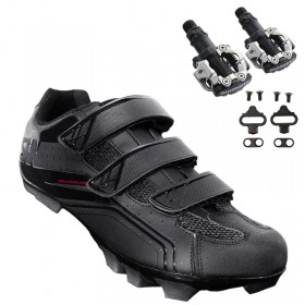 Sapatilha Mtb Ciclismo Asw Fury Preta + Pedal Shimano M520