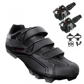 Sapatilha Mtb Ciclismo Asw Fury Preta + Pedal Wellgo M919