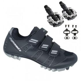 Sapatilha Mtb Ciclismo Dynamix Kanya Preta + Pedal Shimano M520