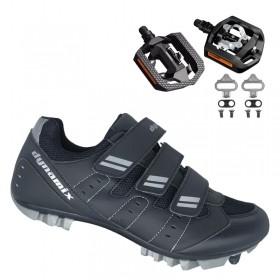 Sapatilha Mtb Ciclismo Dynamix Kanya Preta + Pedal Shimano T421