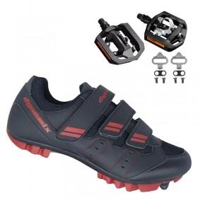 Sapatilha Mtb Ciclismo Dynamix Kanya Vermelha + Pedal Shimano T421