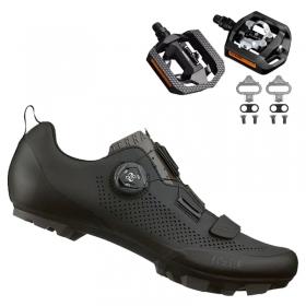 Sapatilha Mtb Ciclismo Fizik Terra X5 Carbon Preta + Pedal Shimano T421
