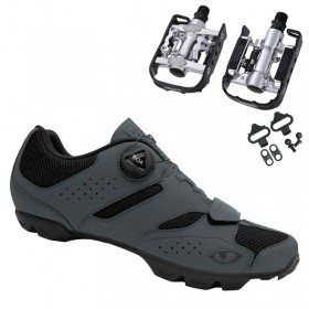 Sapatilha Mtb Ciclismo Giro Cylinder II Cinza + Pedal Wellgo C2 Plataforma