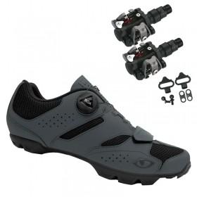 Sapatilha Mtb Ciclismo Giro Cylinder II Cinza + Pedal Wellgo M919