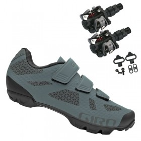 Sapatilha Mtb Ciclismo Giro Ranger Cinza + Pedal Wellgo M919
