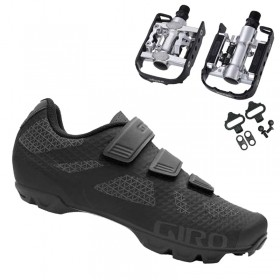 Sapatilha Mtb Ciclismo Giro Ranger Preta + Pedal Wellgo C2 Plataforma