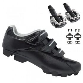 Sapatilha Mtb Ciclismo High One Cobok Preta + Pedal Shimano M520