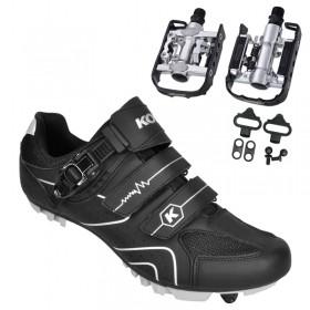 Sapatilha Mtb Ciclismo Kode Attack Preta + Pedal Wellgo C2 Plataforma