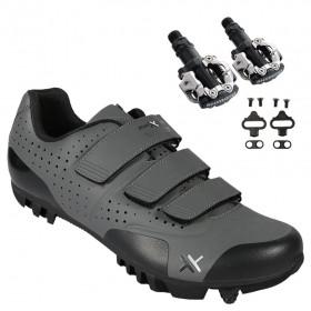 Sapatilha Mtb Ciclismo Mattos Tt II Cinza + Pedal Shimano M520