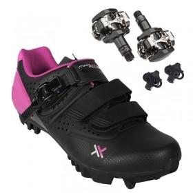 Sapatilha Mtb Ciclismo Mattos Ttr II Rosa Feminina + Pedal Shimano M505