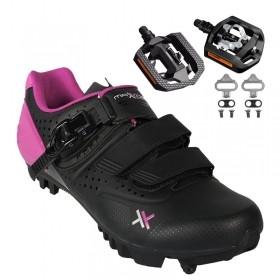 Sapatilha Mtb Ciclismo Mattos Ttr II Rosa Feminina + Pedal Shimano T421