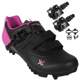 Sapatilha Mtb Ciclismo Mattos Ttr II Rosa Feminina + Pedal Wellgo M919