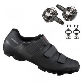 Sapatilha Mtb Ciclismo Shimano Xc100 Preta + Pedal Shimano M505