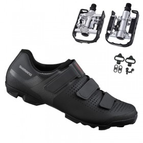 Sapatilha Mtb Ciclismo Shimano Xc100 Preta + Pedal Wellgo C2 Plataforma
