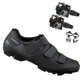 Sapatilha Mtb Ciclismo Shimano Xc100 Preta + Pedal Wellgo M919
