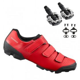 Sapatilha Mtb Ciclismo Shimano Xc100 Vermelha + Pedal Shimano M520