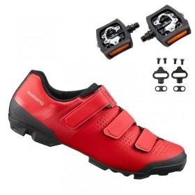 Sapatilha Mtb Ciclismo Shimano Xc100 Vermelha + Pedal Shimano T421
