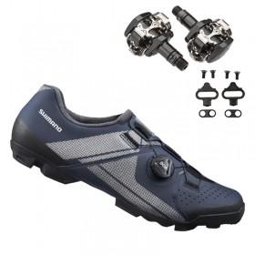 Sapatilha Mtb Ciclismo Shimano Xc300 Azul + Pedal Shimano M505