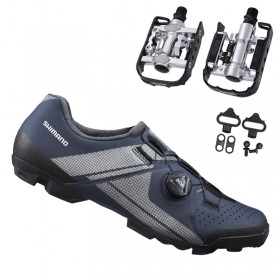 Sapatilha Mtb Ciclismo Shimano Xc300 Azul + Pedal Wellgo C2 Plataforma