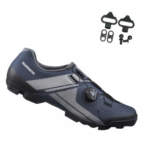 Sapatilha Mtb Ciclismo Shimano Xc300 Azul + Tacos Mtb